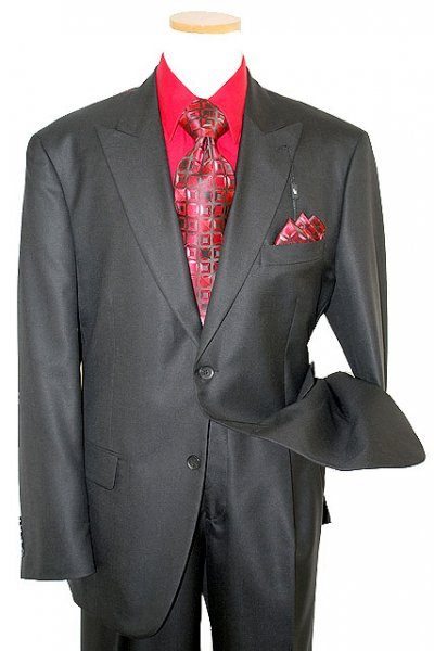 Steve Harvey Classic Collection Solid Black Super 120's Merino Wool & Silk Suit 1130