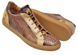 Mauri 8825/1 Dark Brown / Beige Glazed Python Design Malabo Leather Low Top Sneakers