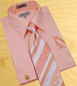 Fratello Peach Shadow Stripes With Peach Trimming Shirt/Tie/Hanky Set With Free Cuff links FRV4104