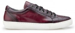"Belvedere ""Anthony"" Wine Safari Genuine Ostrich / Soft Calf Casual Sneakers Y03."