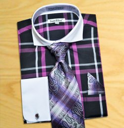 Daniel Ellissa Black / Purple Windowpanes Shirt / Tie / Hanky Set With Free Cufflinks DS3771P2.