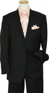 Extrema By Zanetti Solid Black Weaved Super 140's Wool Suit FU1911/2