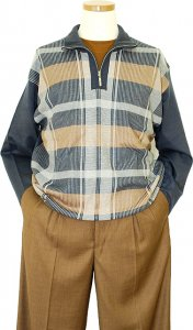Michael Irvin Ocean Blue / Tan / Silver Grey Plaid Zip-Up Mark Net Knitted Sweater