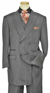 Solo 360 Collection Charcoal Grey Super 160's Wool 3 Piece Fashion Full Cut Wide Leg Suit S219
