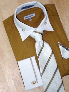 Daniel Ellissa Mustard/White With Embroidered Design Shirt/Tie/Hanky Set DS3736P2