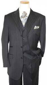 Bertolini Black With Sky Blue / Cream Pinstripes Super 140's Merino Wool & Silk Suit 68802