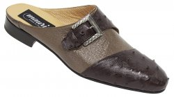 "Mauri ""4716"" Sport Rust Genuine Ostrich / Taupe Peccary Dress Half Shoes"