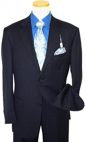 Giorgio Sanetti Navy Blue/Royal Blue Pinstripes Super 150's 100% Wool Suit 21241