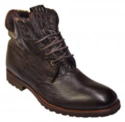 "Calzoleria Toscana ""Imola"" Dark Brown Genuine Washed Leather / Crocodile Lace-Up Shearling Lining Italian Boots 4060"