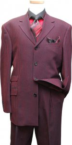 Azione by Zanetti Black With Red Weaved Stripes Super 120's Wool Suit AL20546