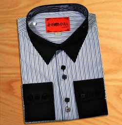Insomnia Black / White/ Grey Trimming High Collar French Cuff 100% Cotton Dress Shirt IN-31