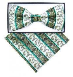 Classico Italiano Light Olive / Emerald / Lime Green Paisley Design Silk Bow Tie / Hanky Set BH2403
