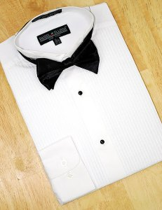 "Daniel Ellissa White 1/4"" Pleated Wing Collar Cotton Blend Tuxedo Shirt With Bowtie DS3005TX"
