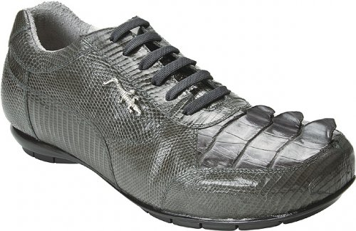 "Belvedere ""Cresta"" Charcoal Grey Genuine Crocodile Tail/Lizard Sneakers With Silver Crocodile On The Side # 2804"