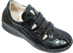 Fennix Italy 3107 Black Genuine Alligator/Nappa/Diamond Calf Leather Sneakers With Three Swarovski Crystals Alligator Heads
