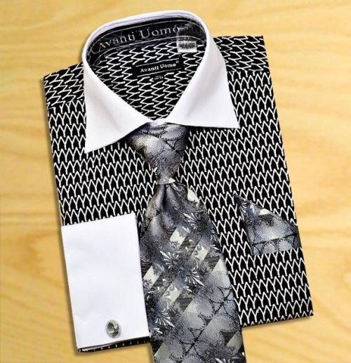 Avanti Uomo Black / White Pointed Two Tone Design 100% Cotton Shirt / Tie / Hanky Set With Free Cufflinks DN61M.