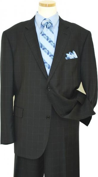 Elements by Zanetti Black With Sky Blue Windowpanes Super 140's Wool Suit 91/005/0383