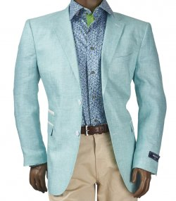 Inserch Mint Green / White Woven Linen Blazer With Elbow Patches 535