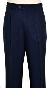 Pronti Solid Navy Blue Wide Leg Slacks P771