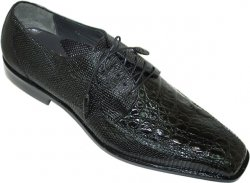 "Romano ""Odie-X"" Black Genuine Crocodile/Lizard Shoes"