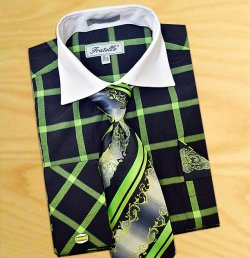 Fratello Black / Apple Checker Pattern Two Tone Shirt / Tie / Hanky Set With Free Cufflinks FRV4123P2
