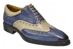 "Dogen Denim ""VITELLO"" Blue / Beige Wingtip Italian Shoes With Contrast Perforation"