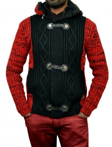 Barabas Red / Black Modern Fit Zip-Up Cardigan Sweater W/ Removable Hood WZ250