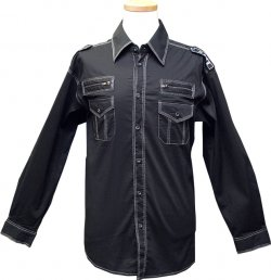Cielo Black With White Hand Pick Stitch / Embroidered With Zippers Casual Shirt
