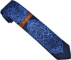 Steven Land Collection SL016 Navy Blue / Powder Blue Self Design 100% Woven Silk Necktie/Hanky Set