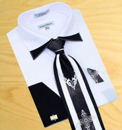 Daniel Ellissa White With Black Trimming Spread Collar Shirt / Tie / Hanky Set With Free Cufflinks DS3748P2
