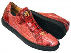 Mauri 8825/1 Red Glazed Python Design Malabo Leather Low Top Sneakers