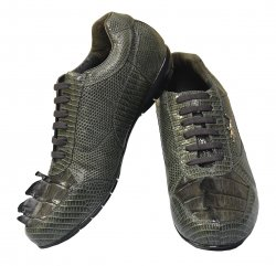 "Belvedere ""Cresta"" Charcoal Grey Genuine Crocodile Tail/Lizard Sneakers With Silver Crocodile On The Side 2804"