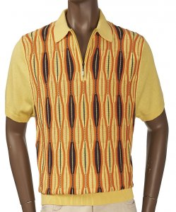 Inserch Yellow / Orange / Brown Knitted Short Sleeve Half-Zip Polo Shirt 761