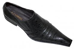 Fiesso Black Pleated Ostrich Print Leather Shoes FI8049