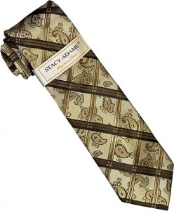 Stacy Adams Collection SA117 Champagne / Taupe / Tan / Dark Brown Diamond Paisley Design 100% Woven Silk Necktie/Hanky Set