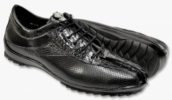 Los Altos Black Genuine Crocodile Tail / Perforated Lambskin Sneakers ZC090105