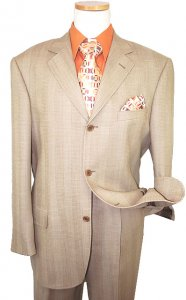 Extrema by Zanetti Tan Self Design Super 120's Wool & Silk Suit
