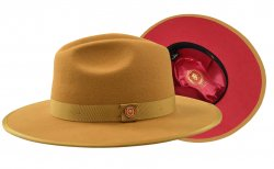 Bruno Capelo Antique Camel / Red Bottom Australian Wool Fedora Hat MO-202