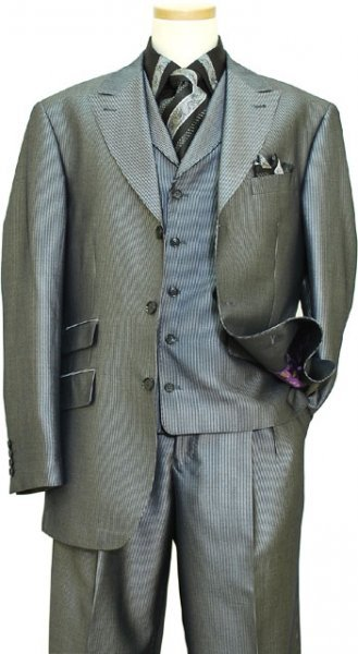 Extrema Black / Metallic Silver Grey Striped Super 120's Wool Vested Suit T69002 / 21