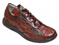 Mauri 8658/1 Ruby Red Genuine Hornback Crocodile / Brushed Off Calf Leather Sneakers