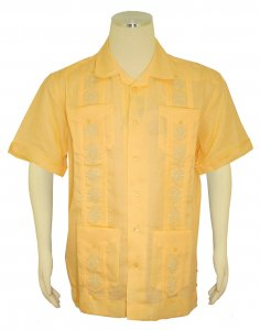 Successos Maize Yellow Embroidered Button Up Casual Linen Short Sleeve Shirt S5432