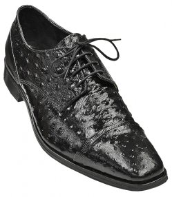 "Stacy Adams ""Amori"" All-Over Black Ostrich Print Shoes 24776"