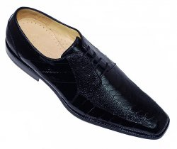 "Belvedere ""Bergamo"" Black Genuine Ostrich / Eel Shoes 215"