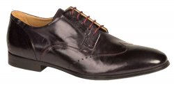 "Bacco Bucci ""Mileti"" Black Genuine Burnished Calfskin Wing Tip Oxford Shoes 2794-88."
