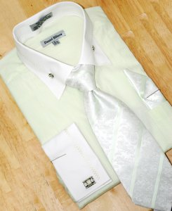 Daniel Ellissa Mint Green/White With Embroidered Design Shirt/Tie/Hanky Set DS3736P2