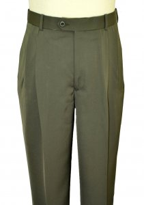 Pronti Olive Green Double Pleated Wide Leg Slacks P18