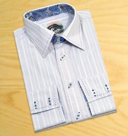 Insomnia Silver Grey Shadow Stripes With Black Hand Pick Stitching High Collar 100% Cotton Dress Shirt MZPT-1