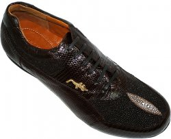 "Belvedere ""Polo"" Brown Genuine Stingray/Lizard Sneakers With Silver Crocodile On The Side"