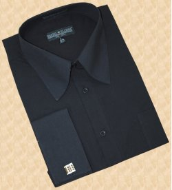 Daniel Ellissa Solid Black Cotton Blend Dress Shirt With French Cuffs DS3008