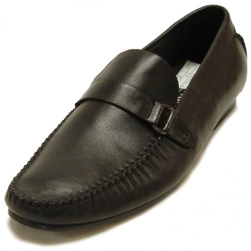 Encore By Fiesso Black Genuine Leather Loafer Shoes FI3058
